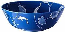 Suppenschalen Suppenschüssel porzellan bunt Salatschüsseln Suppenterrine Blau Lotus and Fish Serie von ZENS, Asiatisches Design Geschirr für Haus Restraurant 20,5cm