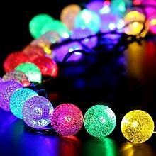 SUPTMAX Solar Lichterkette 8 Modi 30er LED 6,5M Solar Beleuchtung Kugel Garten Außen Solarbetriebene Lichterkette Wasserfest für Outdoor, Party, Garten, Terrasse, Hof, Haus, Weihnachtsbaum, Feiern (Bunt)