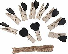 SUPVOX 10 Stücke Mini Holzklammern mit Juteschnur
