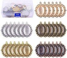 SUPVOX 60 Stücke Lünette Anhänger Tablett mit