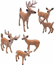 SUPVOX 6pcs White-Tailed Deer Figuren Ornamente
