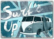 Surfs Up Union Jack–Metall Wandschild Kunst,