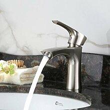 Sursy Edelstahl Wasserhähne, Einloch Mischbatterie Waschbecken mit fließend Warm-/Kaltwasser.