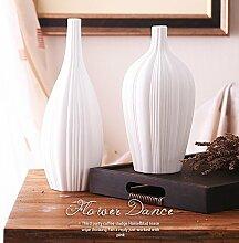 Sushi Keramik Vase Weiß Matt Line Wohnzimmer Dekoration, Set von 2 für Mittelstücke Weihnachten Geburtstag Hochzeit Party Geschenk Desktop Home Decor