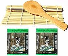 Sushi Roll Matte aus Bambus + Reislöffel + 2x 10