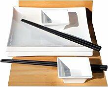 Sushi-Set für 2 im japanischen Stil, quadratisch,