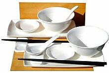 Sushi-Set mit Schüsseln und Löffeln, Weiß,