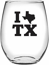 Susquehanna Glass I Heart Texas Stielloses