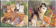 Suuyar Bilder Blumen- und Katzenplakat Wohnkultur