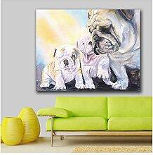 Suuyar Englisch-Bulldoggen-Familie Wand Leinwand