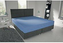 suvero Jersey Spannbettlaken Spannbetttuch Bettlaken 90x200 100 x 200 cm aus 100% Baumwolle in verschiedenen Farben (blau)