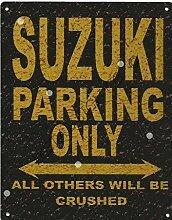 Suzuki Metall Parking Rustikaler Stil den großen 30,5x 40,6cm 30x 40cm Auto Schuppen Dose Garage Werkstatt Art Wand Spiele Raum