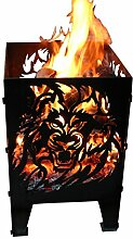 Svenskav Feuerkorb Löwe aus Rohstahl 30 x 30 x 47
