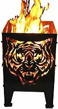 Svenskav Feuerkorb Motiv Tiger aus Rohstahl x 30 x