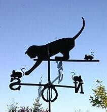 SvenskaV Wetterfahne Katz und Maus groß, schwarz