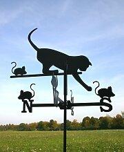 SvenskaV Wetterfahne Katz und Maus, klein, schwarz