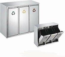 SVITA 45 Liter Edelstahl Abfallsammler Abfalleimer Mülleimer Mülltrennung (45 Liter 3x15L)