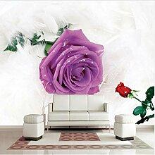 Svsnm Tapete Lila Blumen Federn 3D Foto Tapete