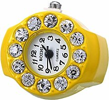 Swallowuk Retro Damen Ring Uhr, Männer Fingeruhr Uhrenring (gelb)