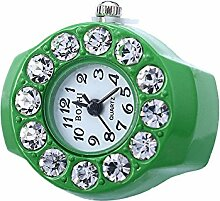 Swallowuk Retro Damen Ring Uhr, Männer Fingeruhr Uhrenring (Grün)