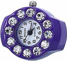 Swallowuk Retro Damen Ring Uhr, Männer Fingeruhr Uhrenring (lila)