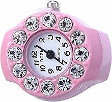 Swallowuk Retro Damen Ring Uhr, Männer Fingeruhr Uhrenring (pink)