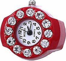 Swallowuk Retro Damen Ring Uhr, Männer Fingeruhr Uhrenring (rot)