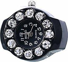 Swallowuk Retro Damen Ring Uhr, Männer Fingeruhr Uhrenring (schwarz)