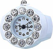 Swallowuk Retro Damen Ring Uhr, Männer Fingeruhr Uhrenring (Weiß)