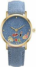 Swallowuk Studenten Cowboy Leinwand Gürtel Uhren, Paaruhren (hellblau)