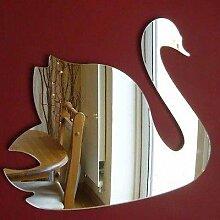 Swan Wandspiegel, plastik, silber, 35 x 30 cm