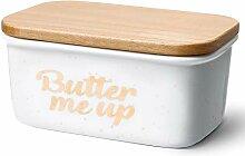 Sweese 3177 Butterdose Porzellan mit Holzdeckel,
