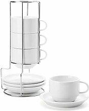 Sweese Porzellan Stapelbare Cappuccinotassen mit