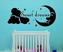 Sweet Dreams Spruch Mond Aufkleber Kinderzimmer