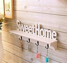 Sweet Home Holz Wandhalterung Haken Kleiderbügel Rack Schlüssel Haken, weiß