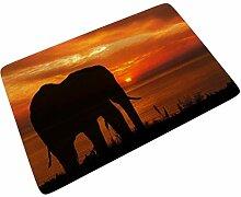 Sweet Luck Sonnenuntergang Elefant Fußmatte