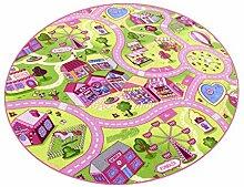 Sweet Town HEVO® Teppich | Spielteppich | Kinderteppich 200 cm Ø Rund