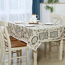 sweetdecor Europäische Baumwolle Leinen Tischdecke Fresh Artsy Style Tisch Cover für Beistelltisch Home Dekoration, Baumwoll-Leinen, karte, 140cm x 180cm