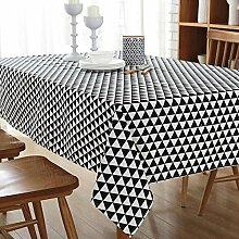 sweetdecor Europäische Baumwolle Leinen Tischdecke Fresh Artsy Style Tisch Cover für Beistelltisch Home Dekoration, Baumwoll-Leinen, Triangle, 140cm x 220cm