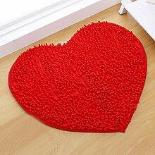 Sweetdecor Herz Shaggy Teppich Hochflor Wohnzimmer/Schlafzimmer Teppiche Antirutschmatte Grösse: 50x60 cm