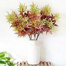 Sweetdecor Kunstpflanze Kunstrasen Ahornblatt Home Dekoration Künstlich Pflanze Blumen Hotel Garten Dekor,5pcs