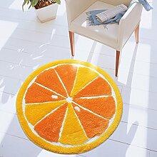 Sweetdecor Nette Orange Stil runde Matte Badevorleger Badeteppich Rutschfeste waschbare Badematte