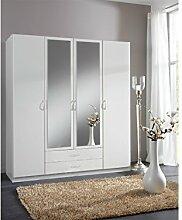 SWEN Kleiderschrank mit Spiegel, 180 cm (4-türig), weiss