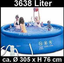 Swimmingpool - Pool - Planschbecken - 305 x 76cm mit 12 vol