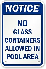 SwimmingPoolSigns Pinnwand, Kein Glas Container in