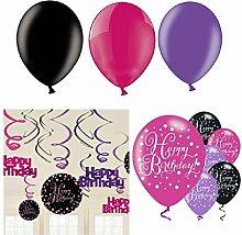 Swirl Dekoration Set Geburtstag; Hängedekoration 12 Teile (ohne Zahl) in pink schwarz violett + Glitter + 9x starke Latex Helium Ballon Happy Birthday