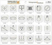 switchid Wohnzimmer und Küche Schalter Label und