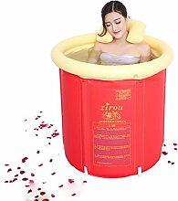 SXFR-ZN Aufblasbare Badewanne, Badewanne aus Kunststoff Badewanne aus Kunststoff Badewanne mit Badewanne ( Farbe : Rot , größe : Kleine )
