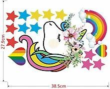 SXXDQT Regenbogen Stern Einhorn Wandaufkleber