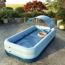 SYFANG Blaues Schwimmbad Aufstellpool rund, 3